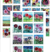 2 and a quarter inch - Square tiles - set of 3 digital collage sheets - fabric art images - letter size