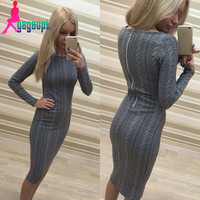Gagaopt 2016 Winter Dresses New Arrival Sexy Twisted Long-sleeve Slim Dress Thick and Warm Dresses Women