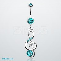 G-Clef Bling Belly Button Ring