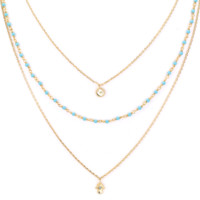 Layered Hamsa and Moon Charm Necklace