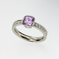Cushion cut light violet amethyst solitaire ring made from 950 platinum, diamond ring, unique, milgrain, amethyst engagement ring, purple