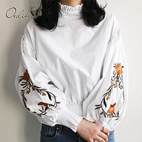 Ordifree 2017 Autumn Summer Women White Shirt Floral Embroidered Blouse Long Sleeve Flower Embroidery Black Female Blouse Shirt