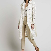 Free People Womens Lace Trench Coat