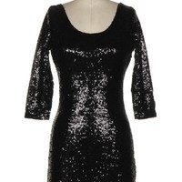 Black Sequin Long Sleeve Bodycon Dress