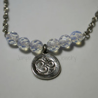 Om Opalite Necklace, Faceted Opalite