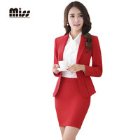 MISS 2016 Spring Women Formal Skirt Suits Work Ladies Office Uniform Slim Business Blazer Suit With Skirt Red Plus SizeT5B026