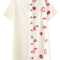 White Button Up Embroidery Detail Short Sleeve Dress
