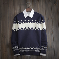 Mens Slim Fit Knitwear Ethnic Sweater