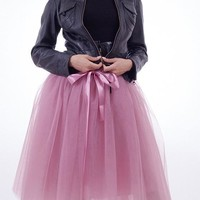 Pink Patchwork Bow Grenadine Fluffy Puffy Tulle Elastic Waist Cute Skirt