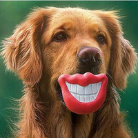 Pet Dog Red Lips Chew Toys Squeak Toy Funny Smile Lips Toy Safe No-Toxic Rubber Toy