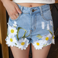 High Waist Hot Embroidered White Jeans Short