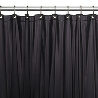 "Royal Bath Extra Wide 5 Gauge Vinyl Shower Curtain Liner with Metal Grommets In Black, Size 72"" Wide x 84"" Long"