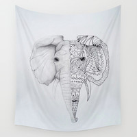 zentangle elephant Wall Tapestry by Sweet Colors Gallery
