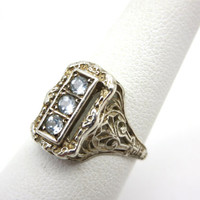 Filigree Sterling Silver Ring - Pale Blue or White Topaz Three Stone Edwardian Style