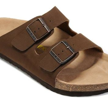 Classic Birkenstock Summer Fashion Leather Cork Flats Beach Lovers Slippers Casual Sandals For Women Men Couples Slippers color brown size 36-45