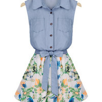 Denim Spliced Sleeveless Floral Print Dress