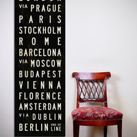 EUROPE Bus Scroll Art. Typography Poster. Canvas Subway Sign. Tram Scroll Print.  20.5 x 60