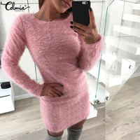 Celmia Women Sexy Sweater Dress 2018 Autumn Winter Long Sleeve Stretch Faux Fur Casual Slim Bodycon Mini Vestidos Plus Size 5XL