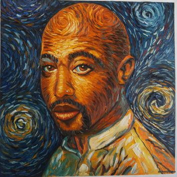 Tupac 2pac Shakur Van Gogh style oil painting on canvas, 24x24 inches