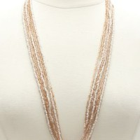 Long Two-Tone Beaded Necklace by Charlotte Russe - Lt Pink