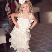 Vintage Ivory Rustic Country Flower Girl Lace Tier Dress bridesmaid Ruffle Lace Girls dress with straps