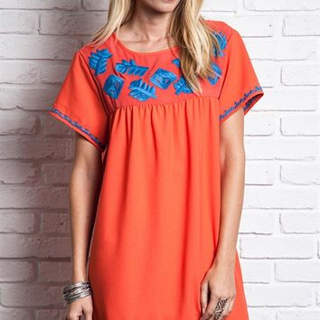 Umgee Coral Embroidered Shift Dress