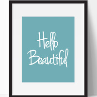 Hello Beautiful Typography Wall Decor (Frame NOT Included)