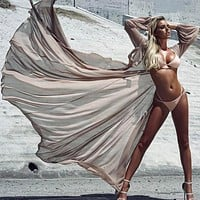 Nude Sheer Long Beach Cover Up