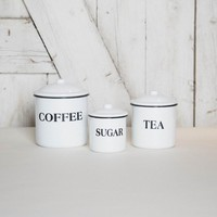 Enameled Coffee, Tea, Sugar Canisters