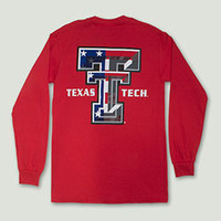 American Flag Double T Red Long Sleeve