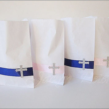 First Communion Or Baptism, Party Favor Bags, Boy Girl Twins, White, Satin Ribbon, Glitter Cross, Candy Bag, Dessert Bar Supply, Set Of 24