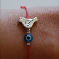 Naz Collection Red String Dove Charm Evil Eye Protection and Friendship Good-luck Bracelet