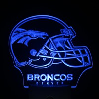 ws0164 Denver Broncos Helmet Bar Pub Day/ Night Sensor Led Night Light Sign