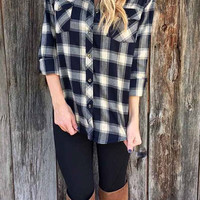 Cupshe Out of This World BF Plaid Shirt