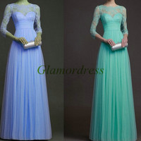 lilac lace and tulle prom dresses / cheap elegant evening dress / mint empire waist gowns for evening party / slim holiday dresses