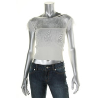 Catherine Malandrino Womens Pointelle Lace Trim Knit Top