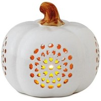 Hallmark Small Pierced Ceramic Pumpkin Luminary, 6""