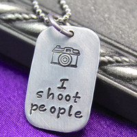 I shoot people necklace, photography jewelry, hand stamped jewelry, photographer's necklace, Camera necklace