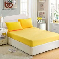 Beddingoutlet Mattress Cover Fitted Sheet Bedding Bed Sheet Bedding Solid Color Bright Yellow