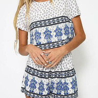 Blue Floral Print Crop Top and Shorts Co-ord