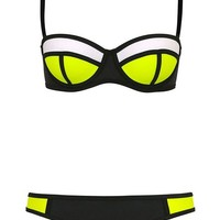 Cfanny Women's Color Block Neonprene Patchwork 2PC Bikini Swimwear Large Black