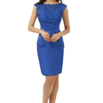 Royal Blue Dressgirl 2017 Mother Of The Bride Dresses Sheath Knee Length Lace Wedding Party Dress Mother Dresses For Wedding
