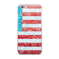 "Beth Engel ""Red White and Glitter"" Flag iPhone Case"
