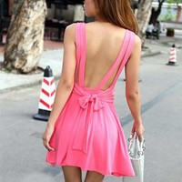 Sexy backless pure color condole of tall waist dress from shopgirl8