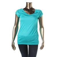 Planet Gold Womens Knit Sheer Knit Top