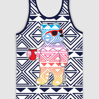 Aztec Tribal Riot Bear Mens Tank Top