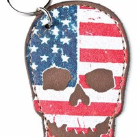 Brandy ♥ Melville |  Leather skull flag keychain - Accessories