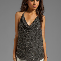Haute Hippie Sequin Embellished Halter Top in Coal/Gunmetal from REVOLVEclothing.com