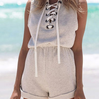 Light Gray Lace-up Front Roll up Hem Sleeveelss Romper Playsuit