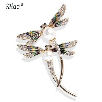 RHao New Dragonfly Brooches Large Couple Flying Insect Dragonfly Brooch pins Women Men's suit corsage collar coat jewelry broach